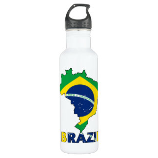 Flag in Map of Brazil 710 Ml Water Bottle