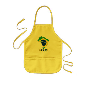 Flag in Map of Brazil Kids Apron