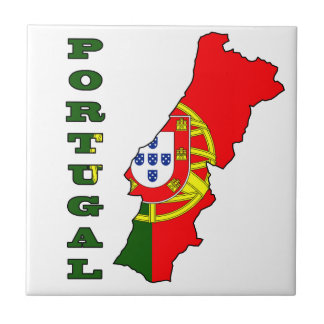Flag in Map of Portugal Tile
