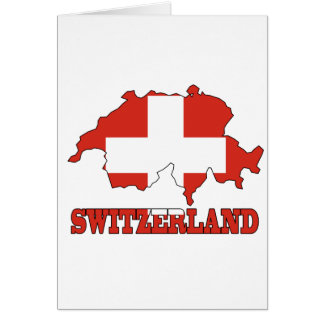 Flag in Map of Switzerland Card