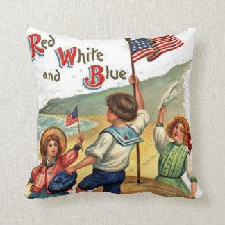 Flag Kids Beach Vintage Postcard Art Cushion