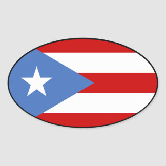 Flag: label: of Puerto Rico Oval Sticker