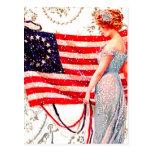 Flag Lady 4th July Patriotic Vintage Postcard Art Postcards