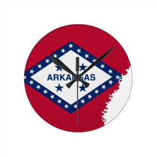 Flag Map Of Arkansas Round Clock