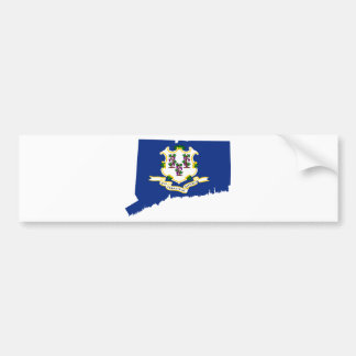 Flag Map Of Connecticut Bumper Sticker