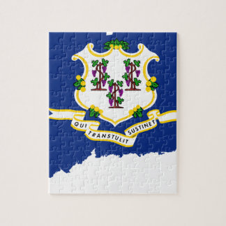 Flag Map Of Connecticut Jigsaw Puzzle