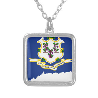 Flag Map Of Connecticut Silver Plated Necklace