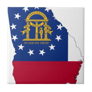 Flag Map Of Georgia Tile