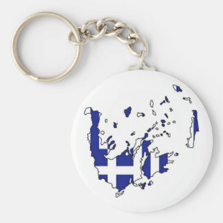 Flag Map of Greece Basic Round Button Key Ring