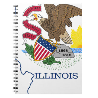Flag Map Of Illinois Notebook