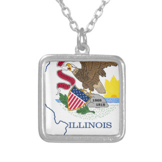 Flag Map Of Illinois Silver Plated Necklace