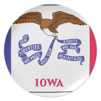 Flag Map Of Iowa Plate