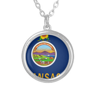 Flag Map Of Kansas Silver Plated Necklace