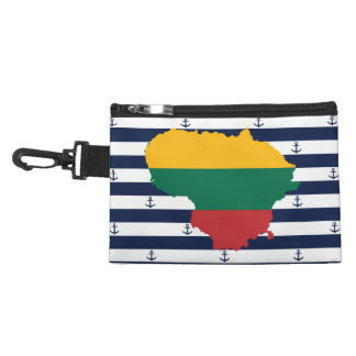 Flag/map of Lithuania on striped background Accessory Bag