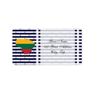 Flag/map of Lithuania on striped background Address Label