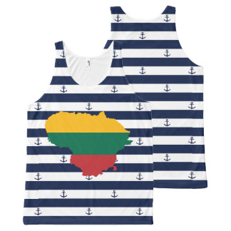 Flag/map of Lithuania on striped background All-Over Print Singlet