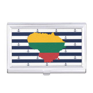 Flag/map of Lithuania on striped background Business Card Case