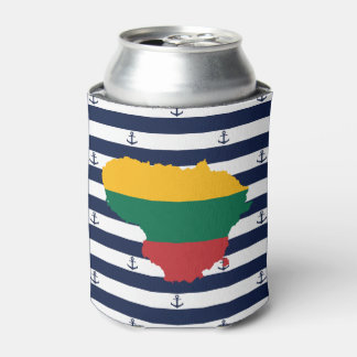 Flag/map of Lithuania on striped background Can Cooler