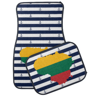 Flag/map of Lithuania on striped background Car Mat