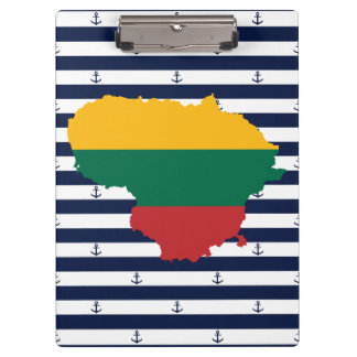 Flag/map of Lithuania on striped background Clipboard