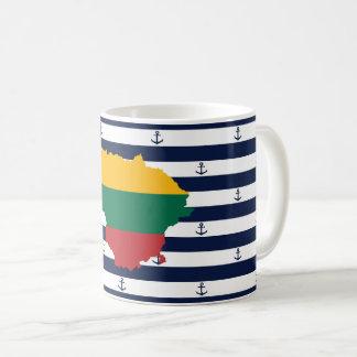 Flag/map of Lithuania on striped background Coffee Mug