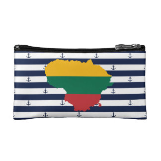 Flag/map of Lithuania on striped background Makeup Bag