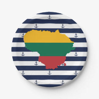 Flag/map of Lithuania on striped background Paper Plate
