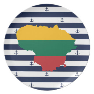 Flag/map of Lithuania on striped background Plate