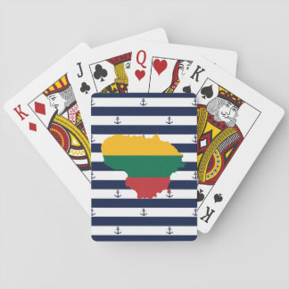 Flag/map of Lithuania on striped background Playing Cards