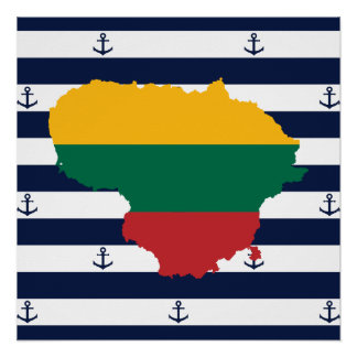 Flag/map of Lithuania on striped background Poster