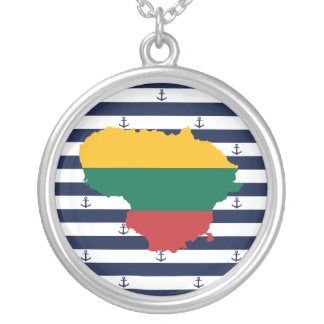 Flag/map of Lithuania on striped background Silver Plated Necklace