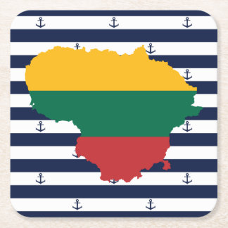 Flag/map of Lithuania on striped background Square Paper Coaster