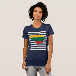 Flag/map of Lithuania on striped background T-Shirt