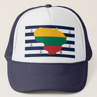 Flag/map of Lithuania on striped background Trucker Hat