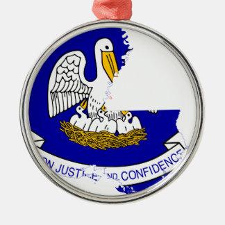 Flag Map Of Louisiana Metal Ornament
