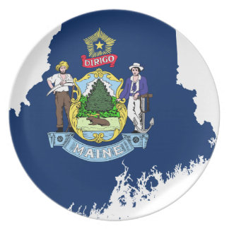 Flag Map Of Maine Plate