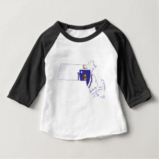 Flag Map Of Massachusetts Baby T-Shirt