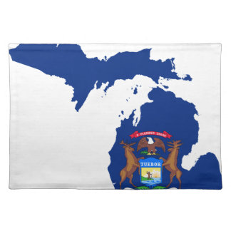 Flag Map Of Michigan Placemat
