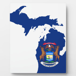 Flag Map Of Michigan Plaque