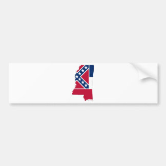 Flag Map Of Mississippi Bumper Sticker