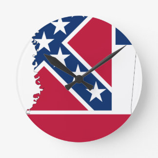 Flag Map Of Mississippi Round Clock