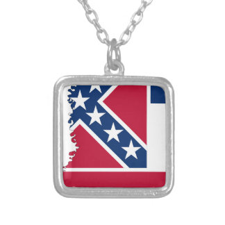 Flag Map Of Mississippi Silver Plated Necklace