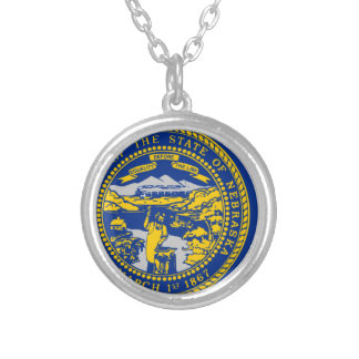 Flag Map Of Nebraska Silver Plated Necklace