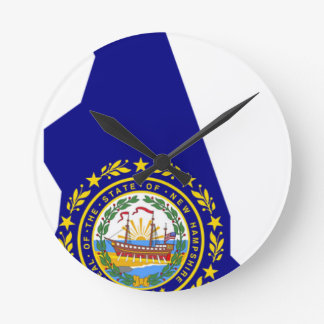 Flag Map Of New Hampshire Round Clock