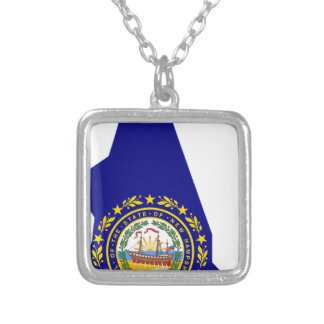 Flag Map Of New Hampshire Silver Plated Necklace
