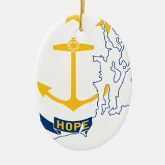Flag Map Of Rhode Island Ceramic Ornament