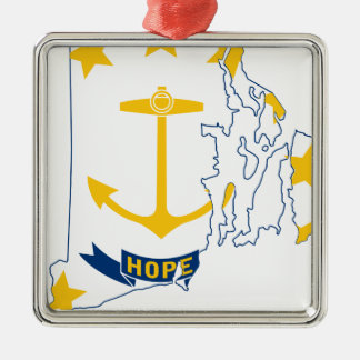 Flag Map Of Rhode Island Metal Ornament