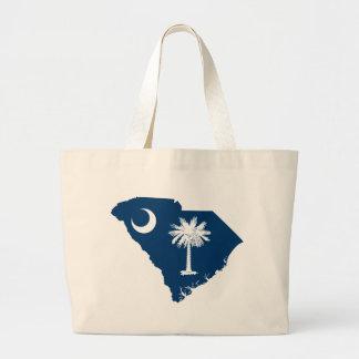 Flag Map Of South Carolina Large Tote Bag