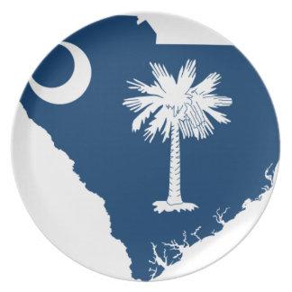 Flag Map Of South Carolina Plate