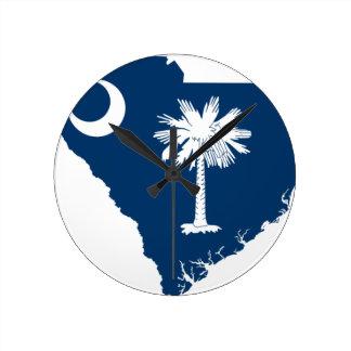 Flag Map Of South Carolina Round Clock